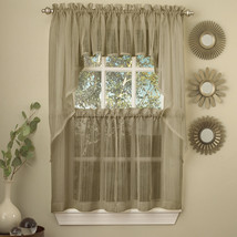 Harmony Mocha Micro Stripe Semi Sheer Kitchen Curtains Tier or Valance or Swag - $11.09