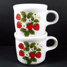 2 McCoy Strawberry Country Tea Cups Coffee Mugs 286 USA Pottery Short Vi... - $18.98
