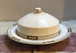 Vintage EDWIN KNOWLES Vitreous Round COVERED Butter CHEESE DISH Tableware - $14.00