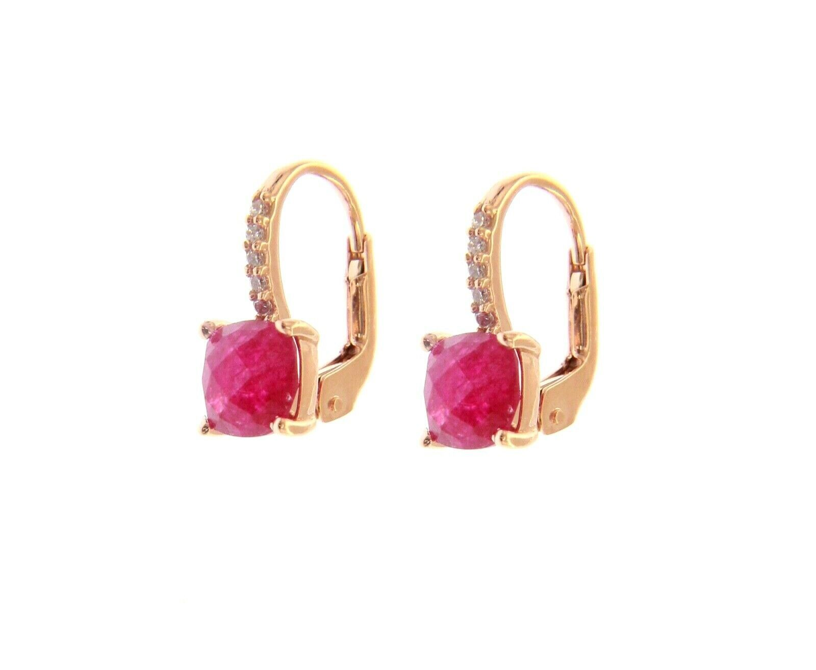 18K ROSE GOLD PENDANT EARRINGS WITH CUBIC ZIRCONIA & RED RUBY CUSHION CUT