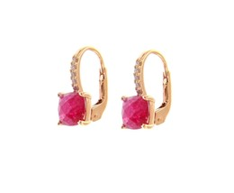 18K ROSE GOLD PENDANT EARRINGS WITH CUBIC ZIRCONIA & RED RUBY CUSHION CUT image 1