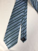 Alfani Men Light Blue Tie Silk Black Striped Size 58 Length 3 Inches width image 6