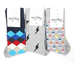 Happy Socks Men's Socks Lot of 3 Gray Pyramids Lightening Argyle Size 10... - $23.99