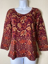 NWT Sacred Threads Womens Size S Maroon Floral Knit Blouse Scoop Neck 3/... - $14.57