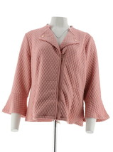 Isaac Mizrahi Knit Motorcycle Jacket Bell Slvs Dusty Pink L NEW A300890 - $37.60