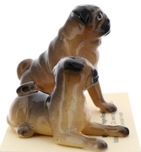 Hagen-Renaker Miniature Ceramic Dog Figurine Pug Fawn Mama Sitting and  Baby Pup image 4