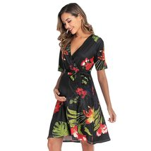 Maternity's Dress V Neck Short Sleeve Floral Print Dress image 3