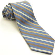 NEW BROOKS BROTHERS 58L Slate Blue Brown Cream Striped Silk Mens Neck Tie - $59.39