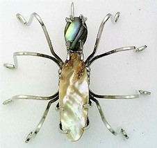 Abalone Shell Spider Stainless Steel Wire Wrap Brooch 6 - $28.97