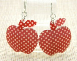 Apple Burgundy Polka Dot Large Acrylic Dangle Earrings Vintage - $13.86
