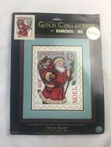 """Brand New Dimensions Cross Stitch Kit Santa Stamp Red & Blue 2002 11""""x14... - $116.86"""