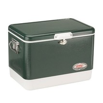 Steel Coleman Cooler Belted Vintage 54 Qt Ice Chest Camping Metal Outdoo... - $202.94