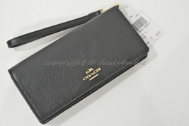 NWT Coach 53717 Pebbled Leather Slim Wallet in Black - $139.00