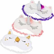 Tatuo 3 Pieces Unicorn Sleeping Mask Unicorn Horn Eye Cover Soft Plush Blindfold