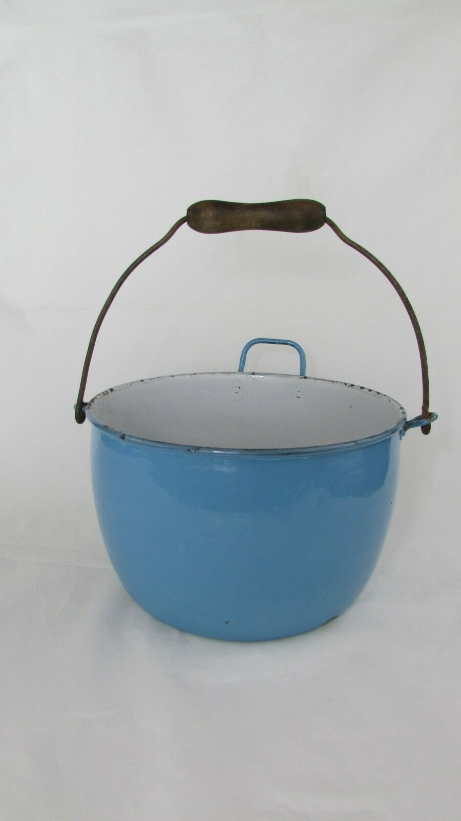Vintage Enamel  Pail Bucket Blue and White Enamelware With Wooden Handle
