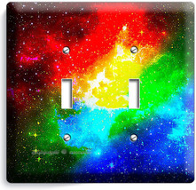 Space Galaxy Stars Rainbow Nebula Cloud 2 Gang Light Switch Plate Room Art Decor - $11.69