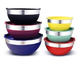 Stainless Steel Mixing Bowls With Lids 12 Piece Set Colored Stackable St... - $936,83 MXN