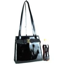 Auth SALVATORE FERRAGAMO VARA Shoulder Bag Black Patent Leather Purse BL... - $137.61