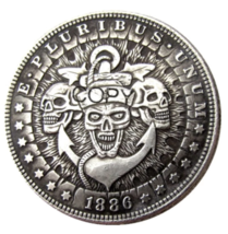 HB(58)US Hobo 1886 Morgan Dollar skull zombie skeleton Silver Plated Cop... - $7.99