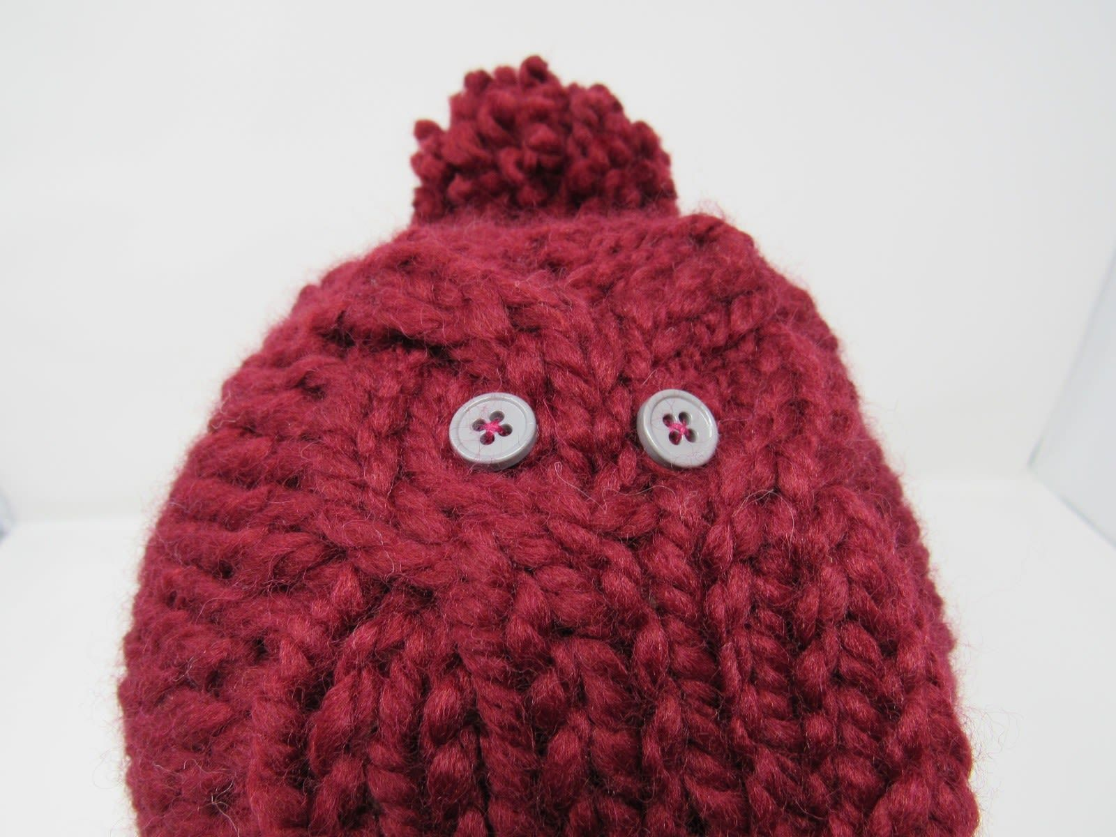 Handcrafted Knitted Hat Beanie Cranberry Acrylic/Wool Owl Pom Pom Female Adult