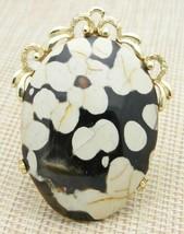 Black Snowflake Obsidian Stone Gold Tone Large Pendant Vintage - $34.64