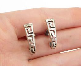 925 Sterling Silver - Vintage Greek Key Cutout Pattern J-Hoop Earrings -... - $24.03