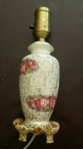 Table Lamp Vintage Shabby Chic Small Porcelain Rose with Toleware Base - $23.71