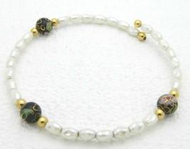 VTG Faux Pearl Black Cloisonne Floral Bead Bracelet - $19.80