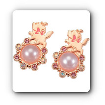 Disney store Japan Aristo cat Marie Pearl piece Earrings Pink gold coating FS - $58.41