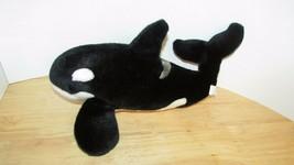 "Sea world Shamu Whale Plush Orca tail up 14"" Stuffed Animal Killer Black... - $14.84"