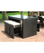 CC Outdoor Living 7-Piece Black Wicker Outdoor Furniture Bar Set White C... - $1,488.70