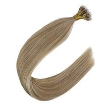 Youngsee 18inch Nano Loop Hair Extensions Real Hair Dark Ash Brown Highlight wit image 6