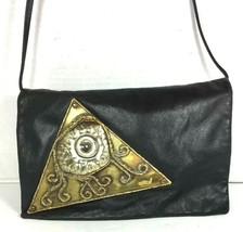 Eye of Horus Vintage Slim Black Faux Leather Crossbody Shoulder Bag- Unique - $47.52