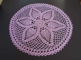 New Handmade Crocheted 14 Inch Round Crocheted Doily Doilie Wood Violet ... - $12.82
