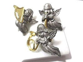 LOT THREE PIN MUSICAL MUSICIAN ANGELS PEWTER SET SIGNED KC VINTAGE FIGUR... - $28.00