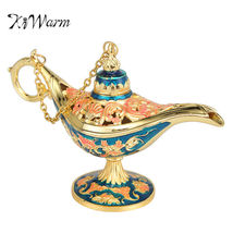 Aladdin Genie Lamp Vintage Art Deco Light Vintage Carved Zinc Alloy Orna... - $41.97