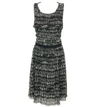 Anthropologie Womens Black White Dress Sleeveless Knee Length Dress Size XS - $33.24