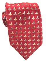 ERMENEGILDO ZEGNA Mens Red Power Silk Tie ILLINOIS CHICAGO FLAMES - $15.61