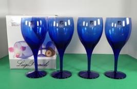 Luigi Bormioli MICHELANGELO BLUE Crystal 11-1/2 oz Goblet (s) LOT OF 4 G... - $47.47