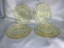 Mosser Glass 4pc Set Mini Plates Jennifer Cameo Patten Krystol Gold Color - $69.00