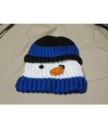 Handmade Knitted Blue Snowman Infant Winter Hat Cap CUTE - $9.90