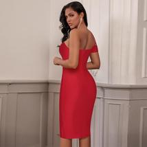 New Summer One Shoulder Sexy Red Sleeveless Bandage Bodycon Party Dress image 5