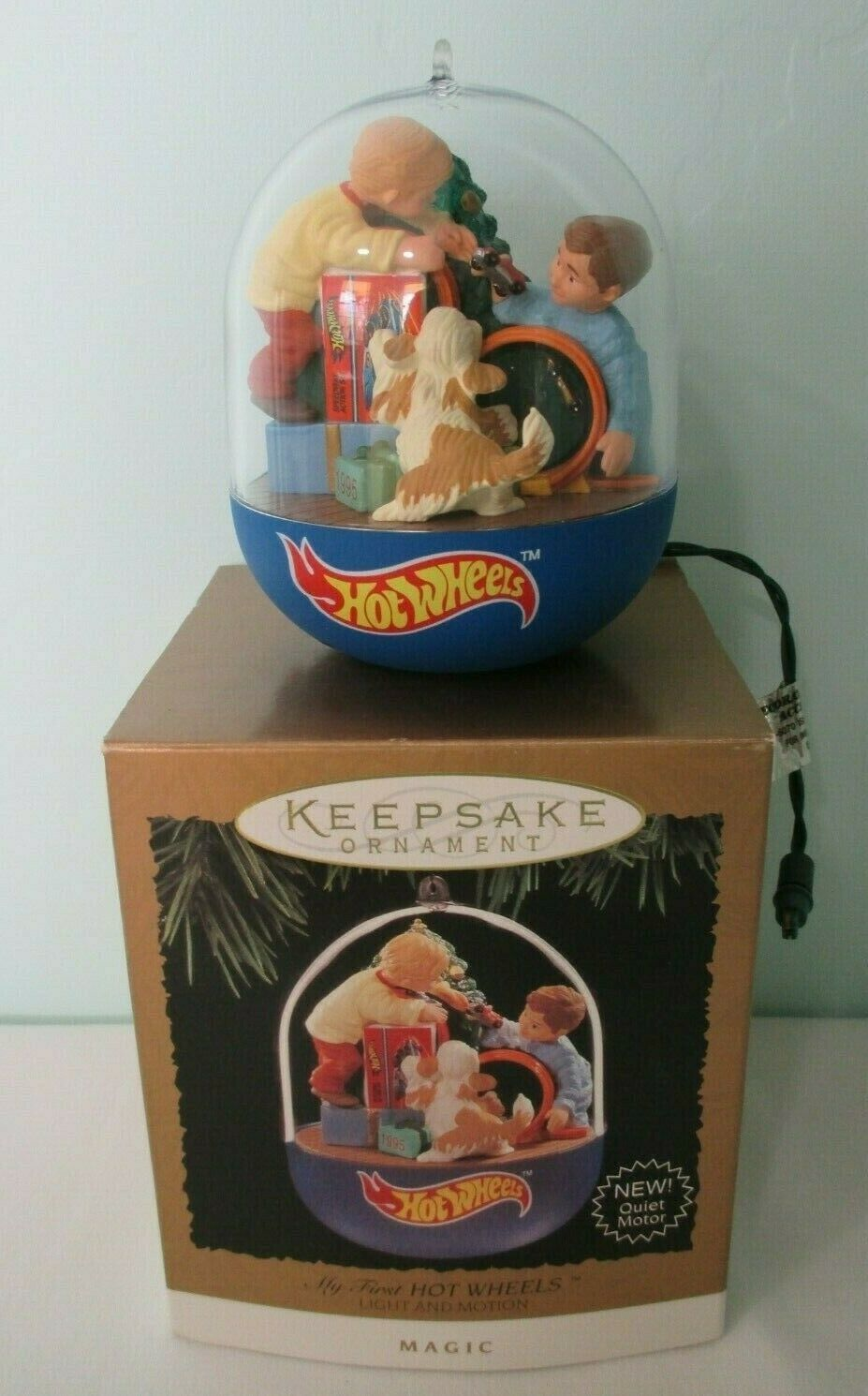 My First Hot Wheels Light and Motion Hallmark Magic Ornament 1995 Gently Used