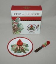 Fitz and Floyd Winter Claus Christmas Snack Plate & Spreader Cardinal Red Bird - $9.85