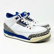 Jordan 3 Retro White True Blue Grade School Size 5.5 Sneakers 398614 104 - $59.95