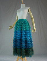 Multi-Color Tiered Tulle Skirt A-line Layered Tulle Midi Skirt Party Outfit image 7
