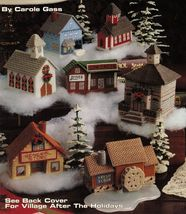 Plastic Canvas Village Town Hall House School Mill Depot Church Store Pa... - $13.99