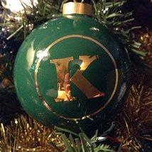 Letter K in Gold on Green Ceramic Monogram Ornament