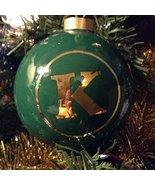 Letter K in Gold on Green Ceramic Monogram Ornament - $34.64