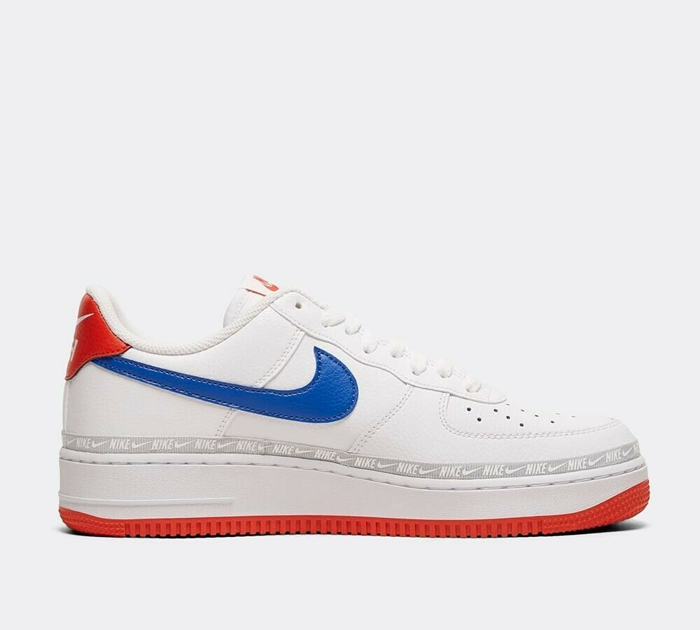 Nike Air Force 1 '07 LV8 Tape Trainer | White / Game Royal / Red Shoes image 3